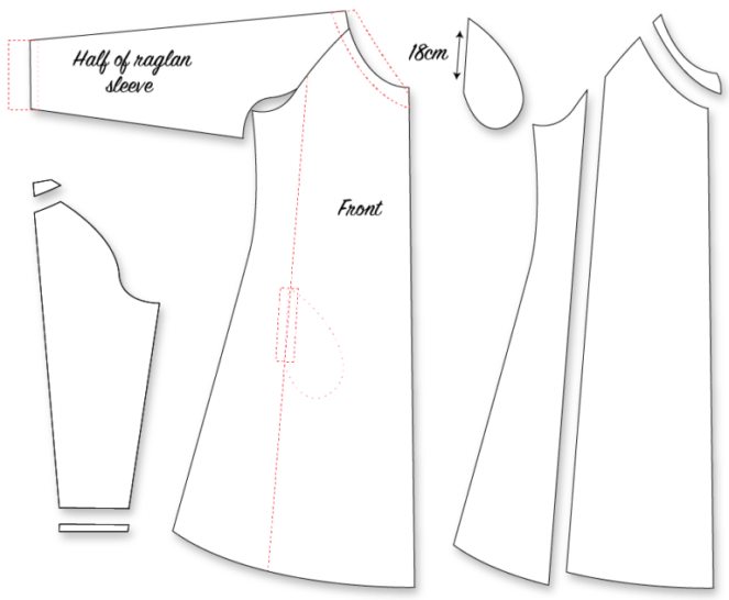 A-line dress, princess seam, raglan hack jujuvail.com