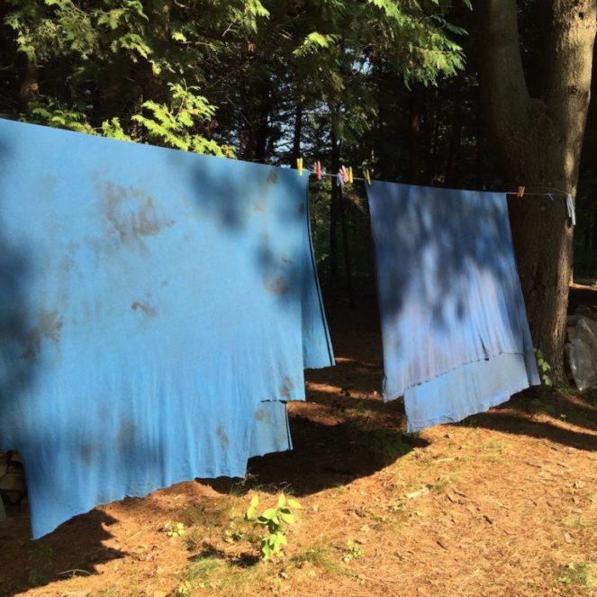 dyed cotton jersey drying on the line