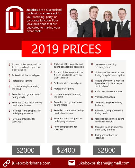 Jukebox Brisbane, 2019 Prices