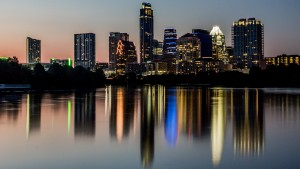 The summer sun sets on Austin, TX on a humid August evening.