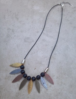 Multi Metal Leaf and Wood Bead Tribal Necklace