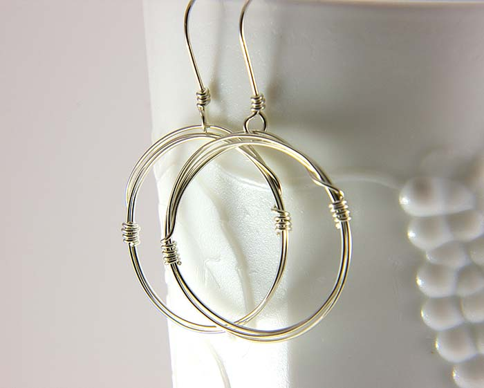 Sterling silver dangle hoops
