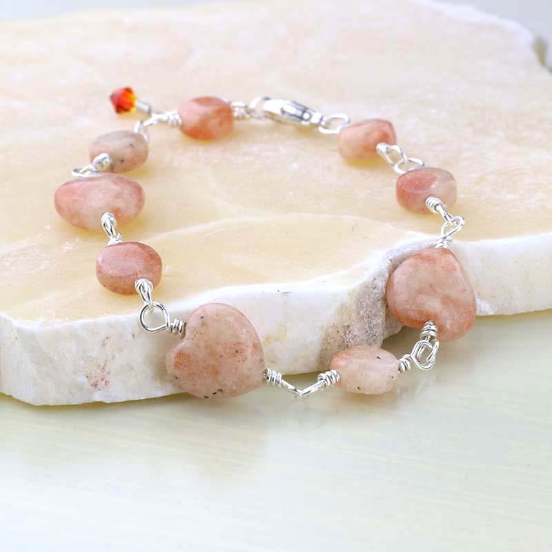 Sunstone hearts bracelet