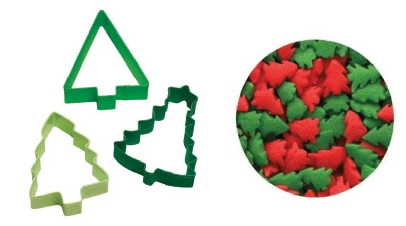 Kagetilbehør med juletræer, juletræer kage, kage juletræer,