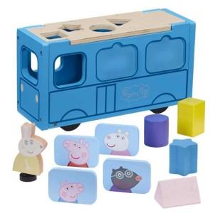 Gurli Gris Skolebus i Træ, Gurli Gris legetøj, Gurli gris bus, gaver med Gurli Gris, Gurli gris gaver