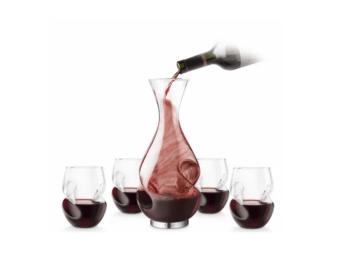 Rødvinssæt, sæt til rødvin, vin karaffel, elegant vin sæt, julegave til farfar, julegave til morfar