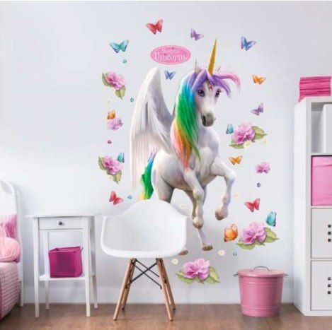 unicorn wallsticker, enhjørning wallsticker, wallstickers til børneværelset, børneværelset wallsticker