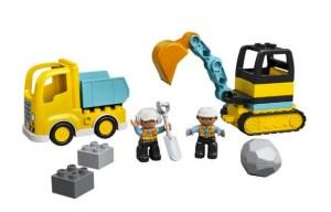 Lastbil og gravemaskine på larvefødder, Lego Dublo, Lego til små børn, gaver til 3 årige drenge