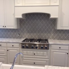 White Kitchen Backsplash Pot Sets Our Top 7 Backsplashes Julep Tile Company The Elegant Cabinets And Beautiful Stone Counters In This Are Perfect Companions For Featuring Damask Pattern Slate