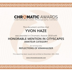 """Certificat """"Honorable Mention in Cityscapes """"à la COMPETITION CHROMATIC AWARDS 2018"""