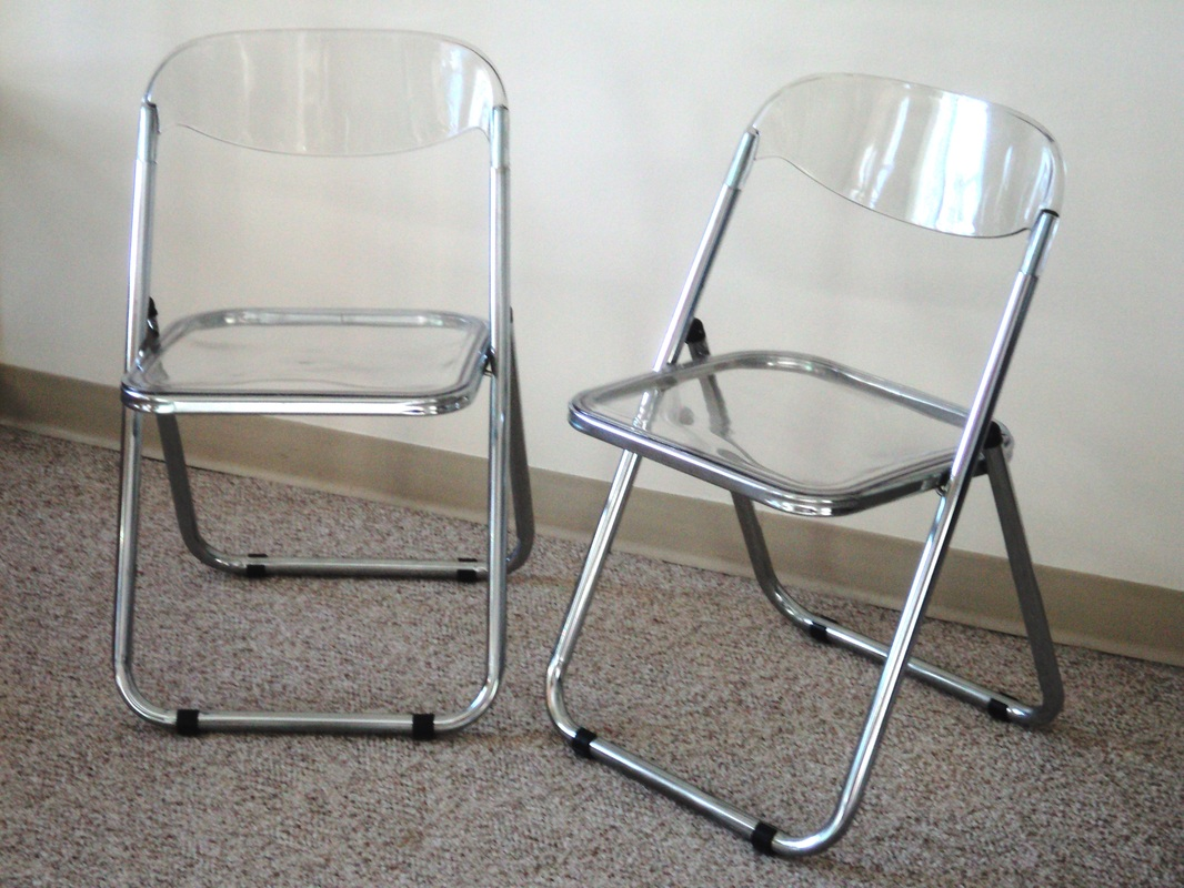 Lucite Folding Chairs Pair Of Italian Chrome And Lucite Folding Chairs