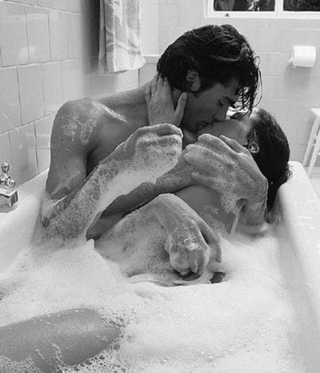 Romantic couple in the bath together