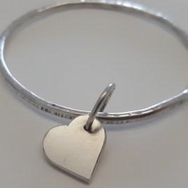 Chunky Silver Heart Bangle