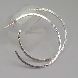 Large Silver Hoop Earrings Hammered.