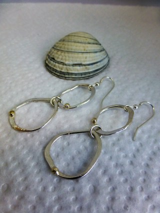 Rock pool earrings with gold beads
