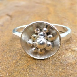Eco Silver and Eco Gold Pebble Granulation Ring.