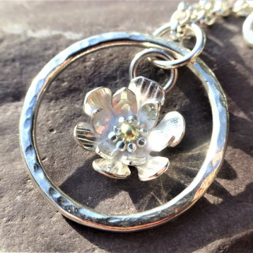 EcoSilver Flower Pendant with Fairtrade 18ct Gold Centre