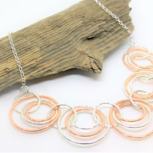 Copper and Silver Circles Choker Necklace