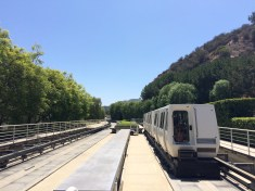 The tram that takes you up to the Getty Center