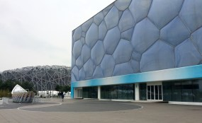 The National Acquatics Center, or 'Water Cube', sits right next to the 'Bird's Nest'