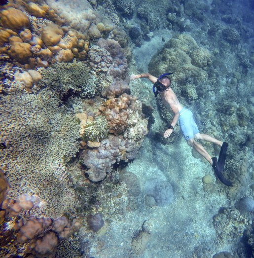 Verne checks out the Bunutan coral reef