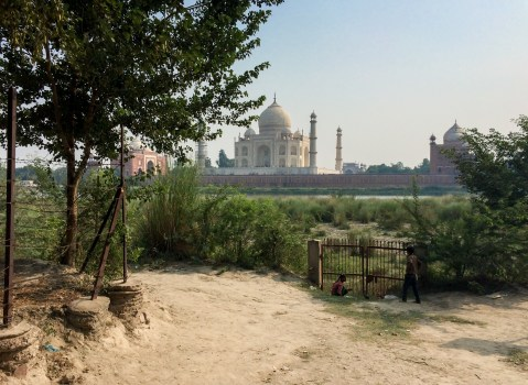 The Taj Mahal seen from the other bank of the Yamuna river