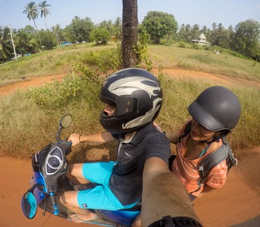 Riding a scooter in Goa, India