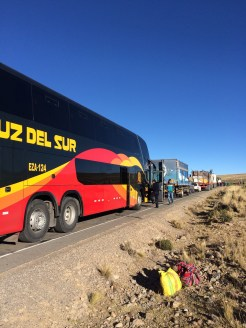 In the middle of our 27 hour bus ride from Cusco to Lima