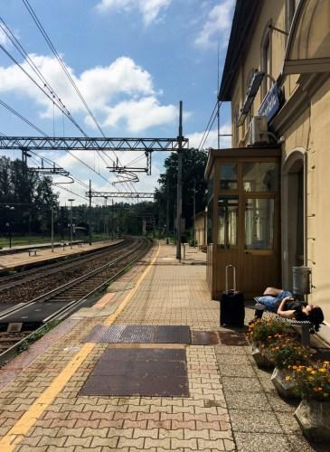 Waiting for the train, somewhere near the Swiss-Italian border