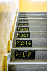 Concrete steps marked 7