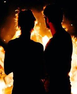 Couple at bonfire