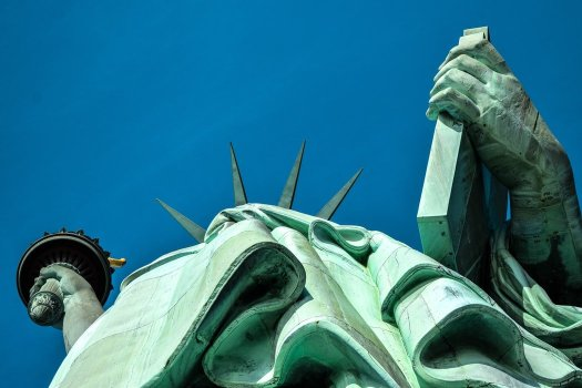low angle of statue of liberty