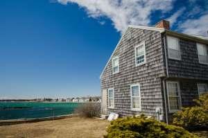 Maine village by ocean