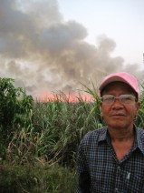 My Paaw With the Burning of the Oy Fields in the Background
