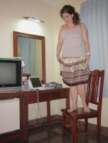 Standing on the Chair and Trying on My New Skirt