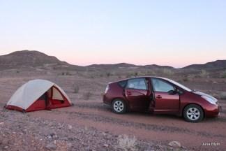 Prius/ tent combo in the CA desert