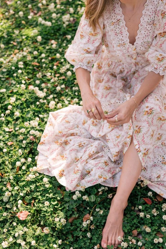 floral cream pink dress