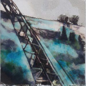Ink #4 - Apex, 2020, Ink bleach & crystal colour on khadi paper, 19 x 19 cm approx | Julia Brown