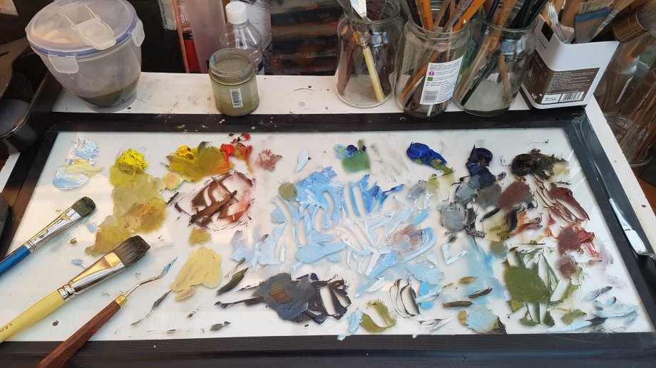My Palette mid-painting