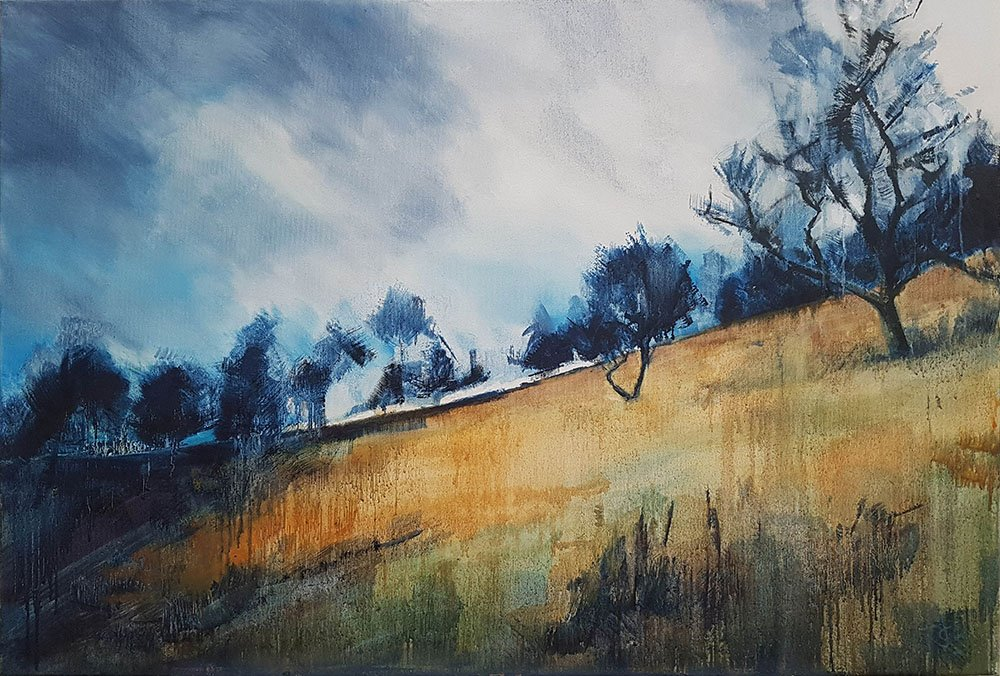 Over Woodhead, 2020, Oil on canvas, 61 x 91.4 x 3.8cm | Julia Brown