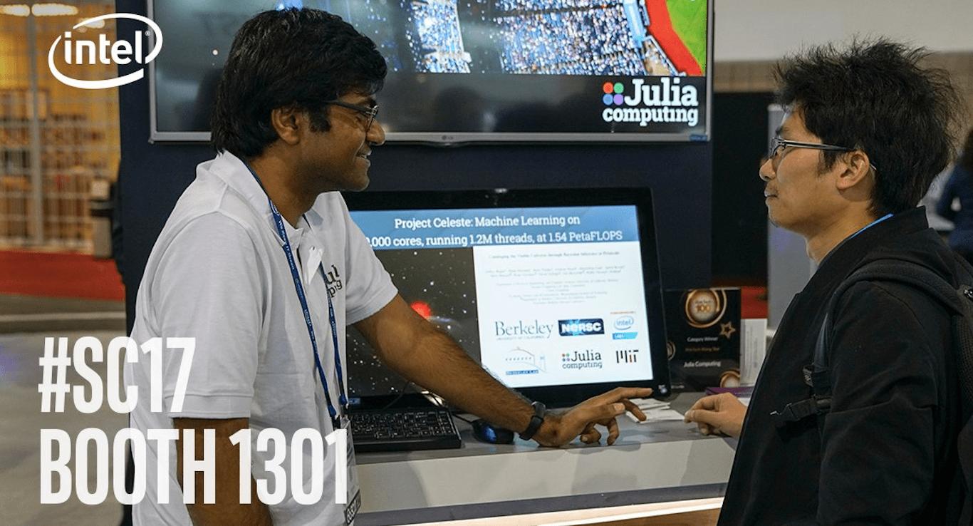 a447238882b442 Julia Computing's Ranjan Anantharaman (left), winner of the Best Tutorial  Award at the Intel HPC Developer Conference 2017