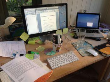 My desk on Friday, after I'd pressed send....
