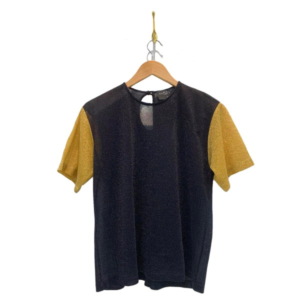 Two toned shirt with dark center and maize yellow sleeves