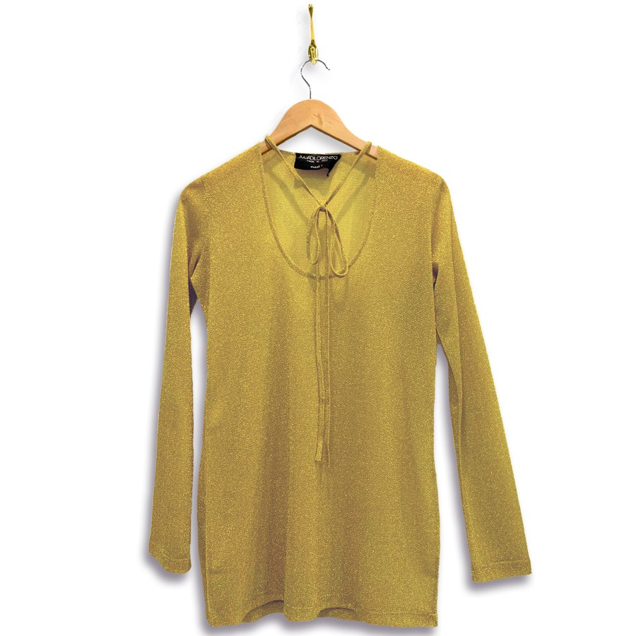 Metallic shirt with necktie and long-sleeves in metallic maize yellow. Necktie is in a bow across the low u-shaped neckline.