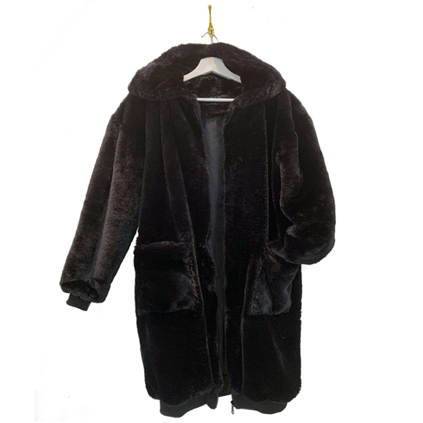 Cardi fur-free faux fur coat in black. This coat has a large hoodie and oversized front pockets.