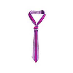 Trendy women's silk tie in light purple and vibrant hot pink vertical stripes.