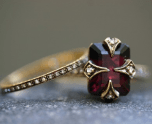 Garnet Engagement and Wedding Ring