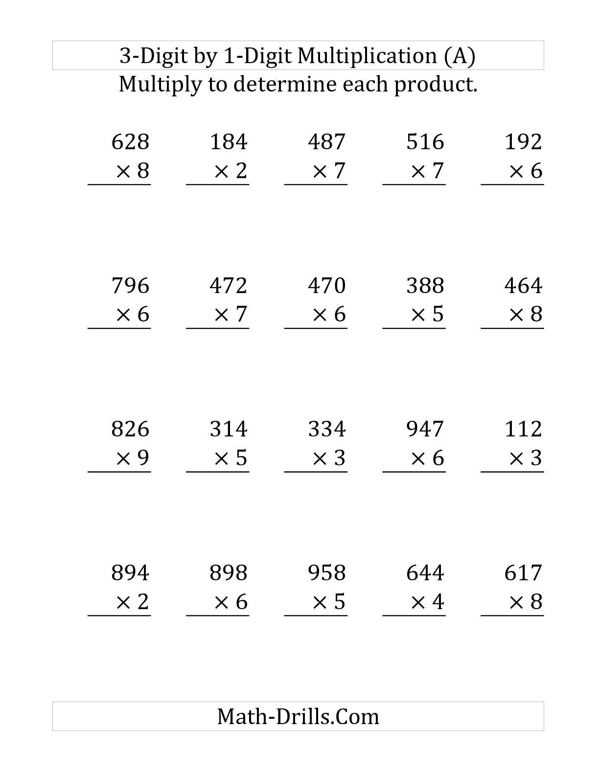 1 Digit Multiplication Worksheets