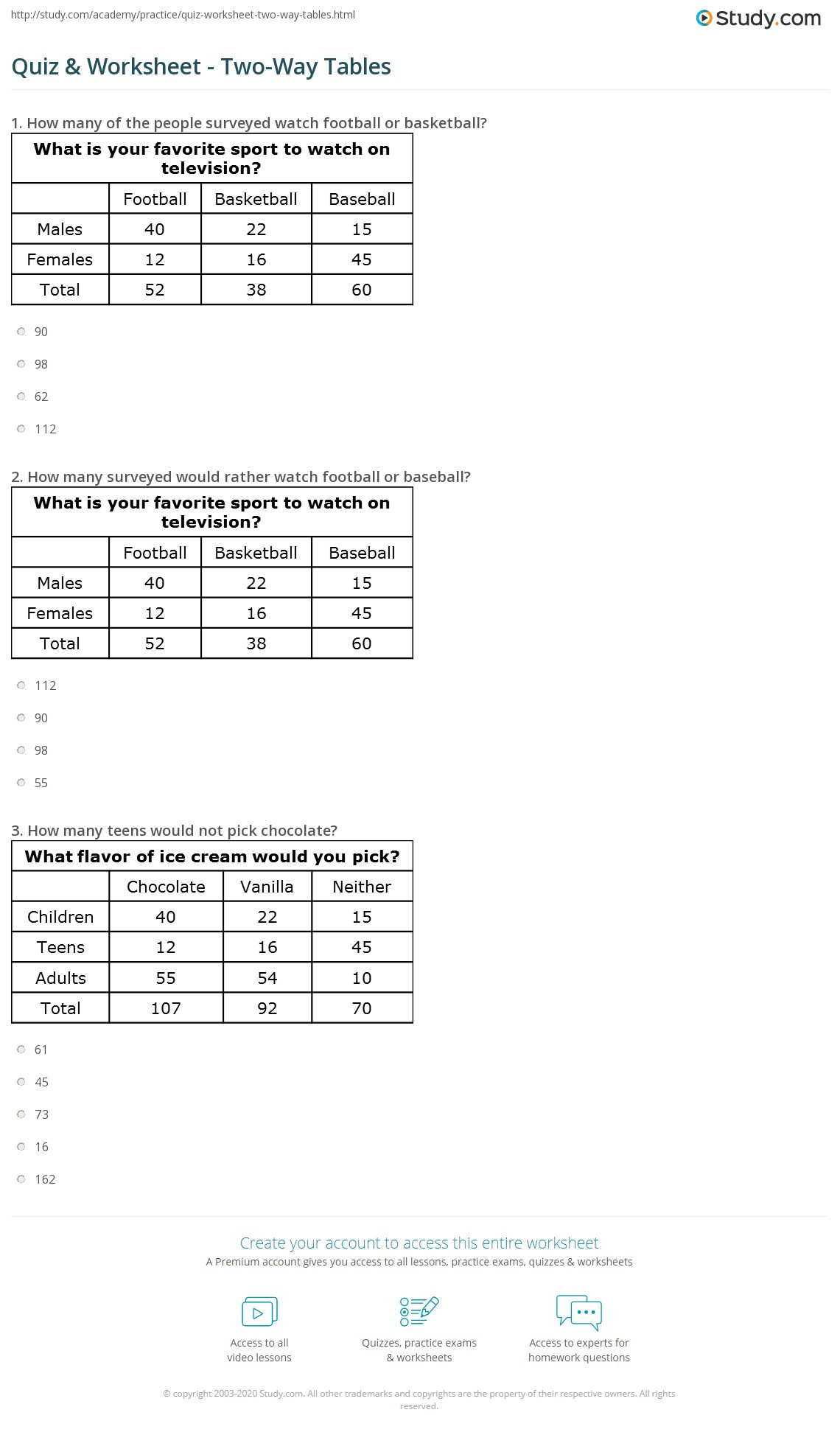 Frequency Table Worksheets 6th Grade