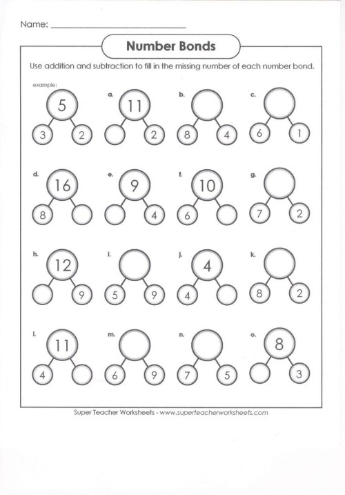 small resolution of Number Bonds Worksheets First Grade – Template Library
